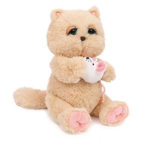 Мягкая игрушка  Киска Персик с мышкой, бежево-розовая Angel Collection. Цвет: бежевый/розовый
