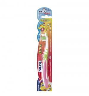 Зубная щетка  Putzi Kids, цвет: салатовый/розовый Silca