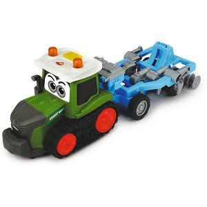 Трактор  Happy Fendt с плугом, свет, звук, 30 см Dickie Toys. Цвет: зеленый