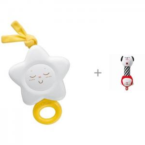 Подвесная игрушка  Звезда и мягкая погремушка Combi Dumbbell Rattle & Teether Chicco