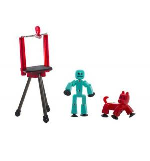 Игровой набор  Студия с питомцем бирюзовый робот красной собакой Stikbot