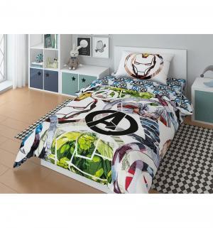 Комплект постельного белья  Marvel Avengers Attack!, цвет: белый/зеленый Нордтекс