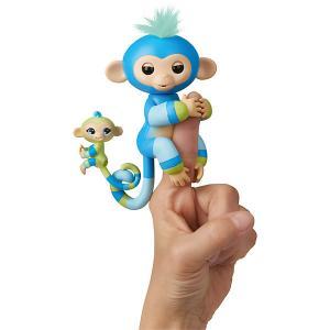 Интерактивная обезьянка  Fingerlings Билли с малышом, 12 см WowWee. Цвет: синий