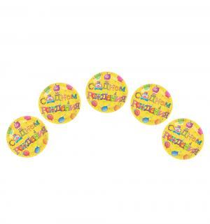 Бумажные тарелки  ламинированные С Днем Рождения! 6шт d= 23 см Патибум