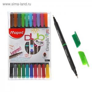 Ручка капиллярная Grahp Peps Duor 20 цветов 10 шт. Maped