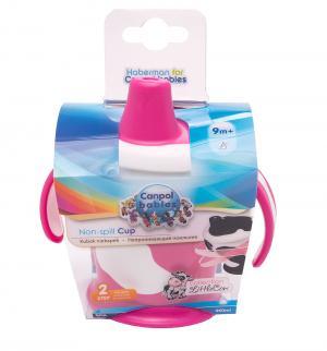 Поильник-непроливайка  Little cow С ручками, от 9 мес, цвет: розовый Canpol
