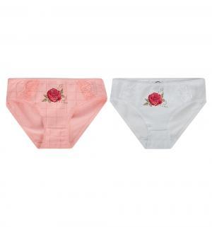 Комплект трусы 2 шт , цвет: белый/розовый Белый Слон