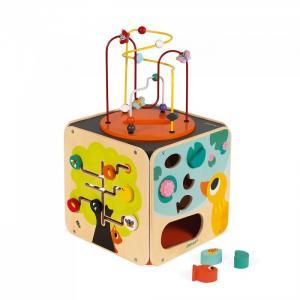 Развивающая игрушка  Куб развивающий с комплектом игр: 8 видов активностей Janod