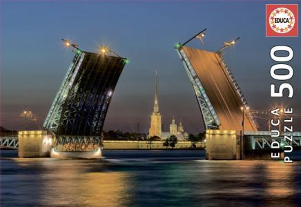 Пазл Развод Дворцового моста в Санкт-Петербурге (500 деталей) Educa