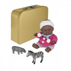 Кукла пупс Девочка африканка с двумя комплектами одежды в чемоданчике 21 см Miniland