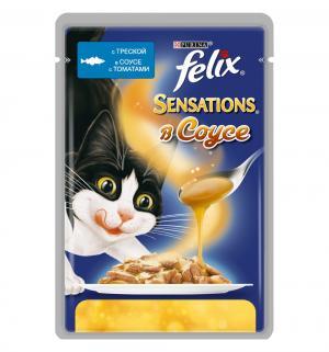 Корм влажный  Sensation для взрослых кошек, треска/томат, 85г Felix