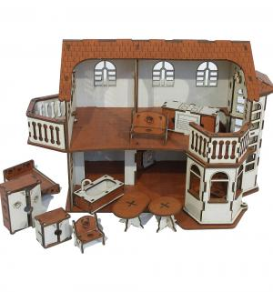 Кукольный домик  Деревянный с эркерами 45 см Iwoodplay
