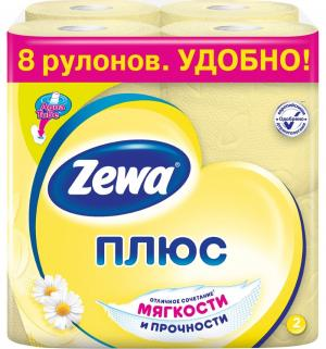 Туалетная бумага 2-х слойная ромашка  Plus, 8 шт Zewa
