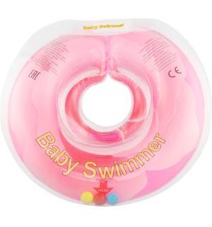 Круг  полуцвет+погремушка, цвет: розовый Baby Swimmer