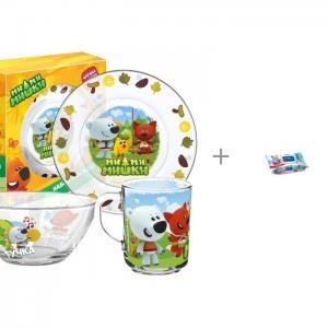 Набор стеклянной посуды Мимимишки Кеша друзья и Влажные салфетки Aura 120 шт. ND Play