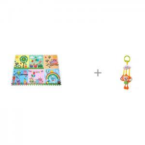 Игровой коврик  Парк сов 180х120 см и Подвесная игрушка Forest Обезьянка с колечками Mambobaby