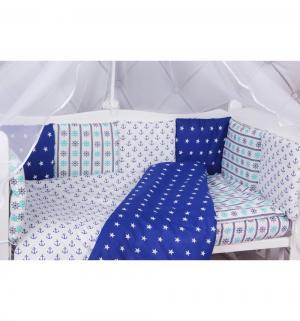 Комплект постельного белья  Baby Boom, цвет: синий/белый 4 предмета Amarobaby