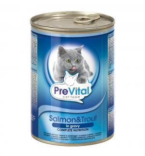 Влажный корм  для взрослых кошек, лосось/форель, 415г Prevital