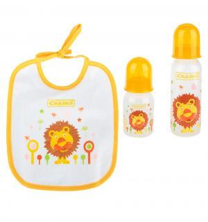 Подарочный набор  рожок+бутылочка+нагрудник полипропилен с рождения, цвет: желтый Сказка