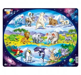 Пазл  Планета животных 15 деталей Larsen