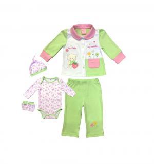 Комплект боди/кофта/брюки/чепчик/царапки , цвет: зеленый Nannette