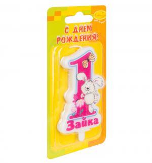 Свеча-цифра  1 Зайка розовая 9 см Патибум