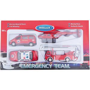 Набор машин Пожарная служба 4 штуки Welly