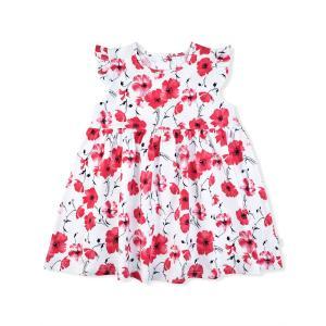 Платье  Маки, цвет: белый/красный Leo
