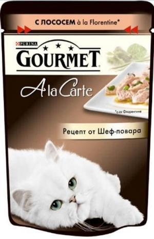 Корм влажный  A la Carte для взрослых кошек, лосось/овощи, 85г Gourmet
