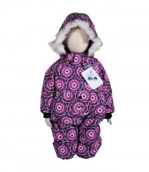 Комбинезон зимний для девочки (фиолетовые круги) Rasavil. Цвет: фиолетовый