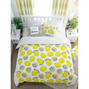 Постельное белье  2-х спальное полисатин Лимонный фреш (4 предмета) Сирень