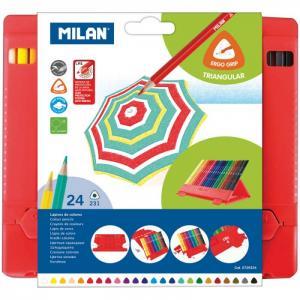 Карандаши 231 24 цвета пластиковый пенал Milan