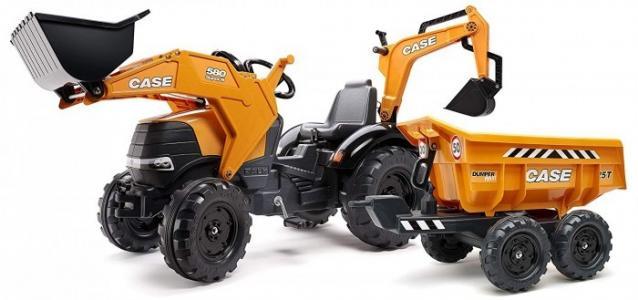 Трактор-экскаватор педальный c ковшом и прицепом 225 см Falk