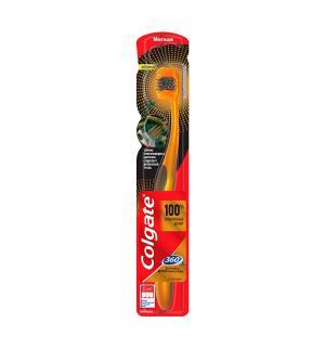 Зубная щетка  360. Золотая С древесным углем, цвет: черный Colgate