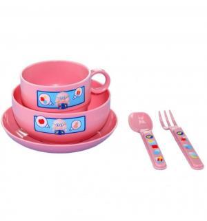 Набор посуды  тарелка+миска+чашка+ложка+вилка, цвет: розовый Сказка