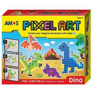 Аква-мозаика из пикселей  Динозавры Amos. Цвет: желтый/красный