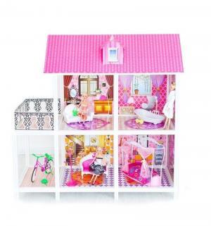 Дом для кукол  2-этажный с 4 комнатами и 3 куклами 100 см Paremo