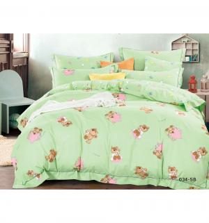 Комплект постельного белья  Игрушки, цвет: зеленый 3 предмета Cleo