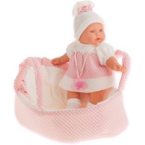 Кукла Juan Antonio Munecas Лана в корзине, плачущая, 27 см. Цвет: розовый/белый