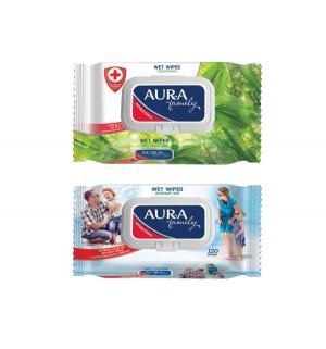 Влажные салфетки  Family с антибактериальным эффектом крышкой, 120 шт Aura
