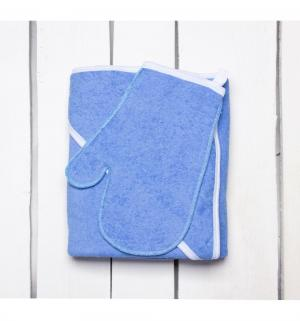 Комплект  полотенце/рукавица 90 х 110 см, цвет: голубой Утенок