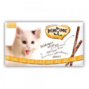 Лакомые палочки 13,5 см для кошек с цыпленком и печенью 10х5 г Мнямс