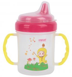 Чашка-непроливайка , цвет: розовый/ручки желтые Farlin