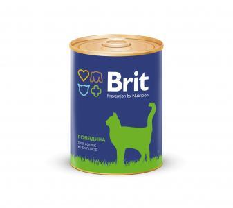 Влажный корм  для взрослых кошек, говядина, 340г Brit