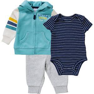 Комплект carter's: толстовка, боди и джинсы carter`s. Цвет: синий