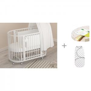 Кроватка-трансформер  Бэтти с матрасом Плитекс Aloe vera Oval и конвертом для пеленания Summer Infant Swaddleme Гандылян