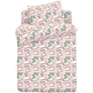 Комплект постельного белья детский бязь  КДКм-1 рис.8796-2 Единорожки Кошки-мышки. Цвет: разноцветный