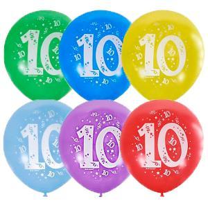 Воздушные шары  Цифра Десять 10 шт, пастель + декоратор Latex Occidental. Цвет: разноцветный