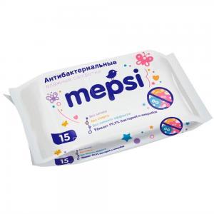 Влажные салфетки  антибактериальные, 15 шт Mepsi