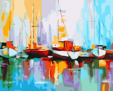 Картина по номерам на подрамнике Цветные лодки в порту 50х40 см Color Kit